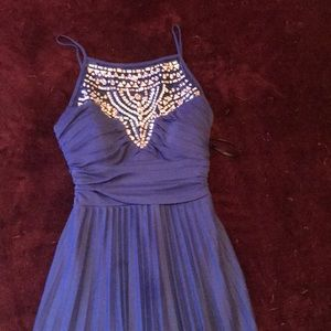 Blue, Floor Length Prom Dress